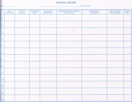 free printable notary journal log templates